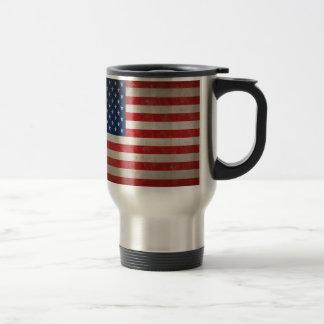 Vintage Style American Flag Patriotic Design Travel Mug