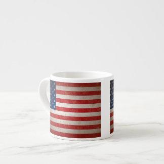 Vintage Style American Flag Patriotic Espresso Mug 6 Oz Ceramic Espresso Cup