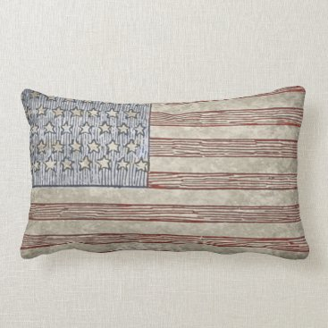 USA Themed Vintage Style American Flag Pillow