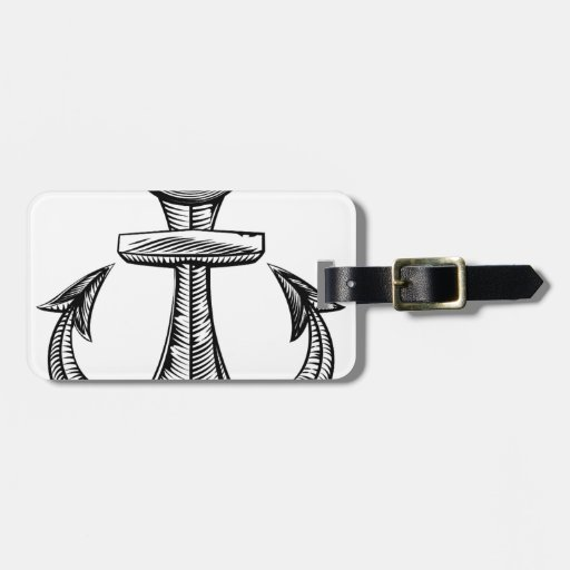 Vintage style anchor travel bag tag