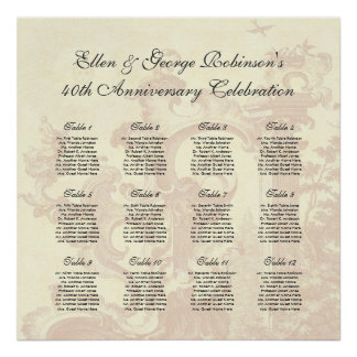 Vintage Style Anniversary Party Table Seating Plan Poster