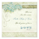 Vintage Style Aqua Floral Hydrangea Swirl Damask Personalized Announcements