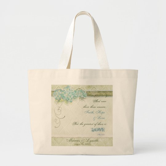 Vintage Style Aqua Floral Hydrangea Swirl Damask Large Tote Bag
