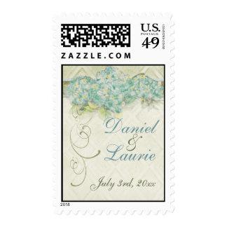 Vintage Style Aqua Floral Hydrangea Swirl Damask Stamp