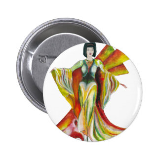 Vintage style art deco fashion illustration pinback button