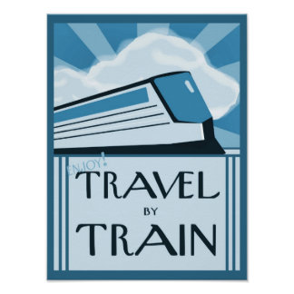 Vintage Style Art Deco Train Travel Poster Print
