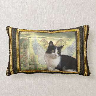 Vintage Style Art Pillow with Cat Angel