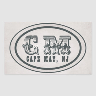 Vintage Style Beach Cape May NJ Tag Stickers
