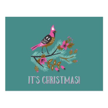 Professional Business Vintage Style Bird Christmas Postcard