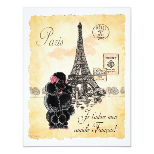 Vintage Style Black Poodle Eiffel Tower Print 4.25x5.5 Paper Invitation Card
