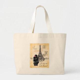 Vintage Style Black Poodle Eiffel Tower Print Large Tote Bag
