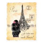 Vintage Style Black Poodle Eiffel Tower Print Letterhead Template