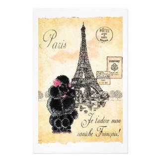 Vintage Style Black Poodle Eiffel Tower Print Stationery