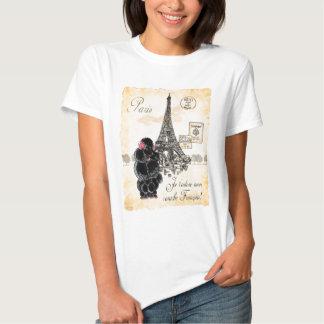 Vintage Style Black Poodle Eiffel Tower Print T Shirt