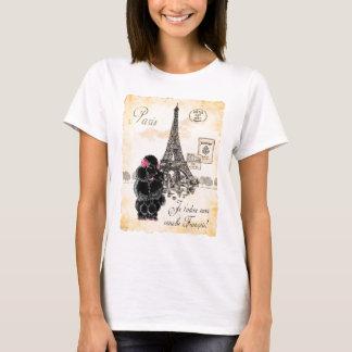 Vintage Style Black Poodle Eiffel Tower Print T-Shirt