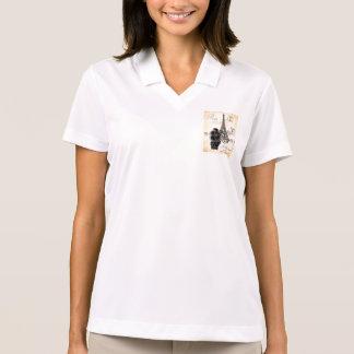 Vintage Style Black Poodle Eiffel Tower Print Polo T-shirts