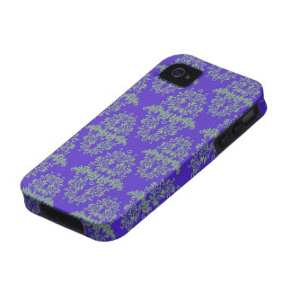 Vintage Style Blue and Green Damask Pattern iPhone 4 Covers