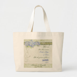 Vintage Style Blue Hydrangea Floral Swirl Damask Canvas Bags