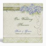 Vintage Style Blue Hydrangea Floral Swirl Damask Vinyl Binders