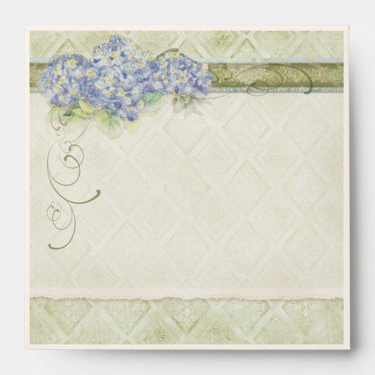 Vintage Style Blue Hydrangea Floral Swirl Damask Envelope