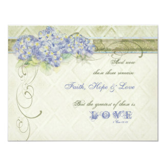 Vintage Style Blue Hydrangea Floral Swirl Damask Custom Invitations