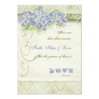 Vintage Style Blue Hydrangea Floral Swirl Damask Invitation