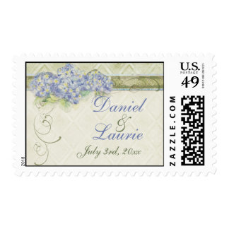 Vintage Style Blue Hydrangea Floral Swirl Damask Postage Stamp
