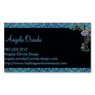 Vintage Style Blue Lace Business Card Magnet