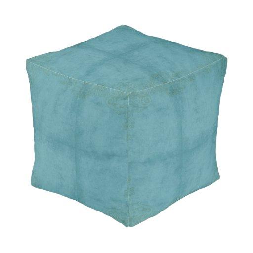 Vintage Style Blue Pattern Poof Pouf Zazzle