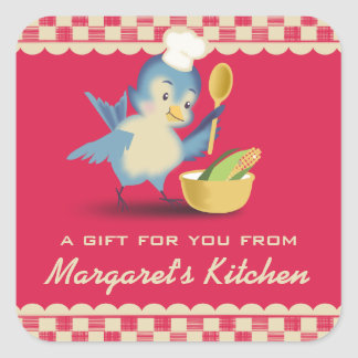 Vintage style bluebird chef food gift tag label