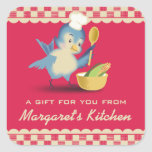 Vintage style bluebird chef food gift tag label square stickers