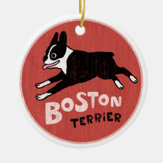 Vintage Style Boston Terrier Double-Sided Ceramic Round Christmas Ornament