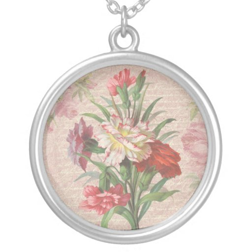 Vintage style bouquet on aged floral and script ba necklace
