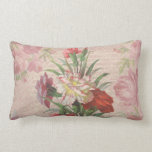Vintage style bouquet on aged floral and script ba throw pillows