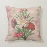 Vintage style bouquet on aged floral and script ba throw pillow