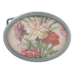 Vintage style bouquet on aged floral and script belt buckles