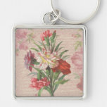 Vintage style bouquet on aged floral and script key chains