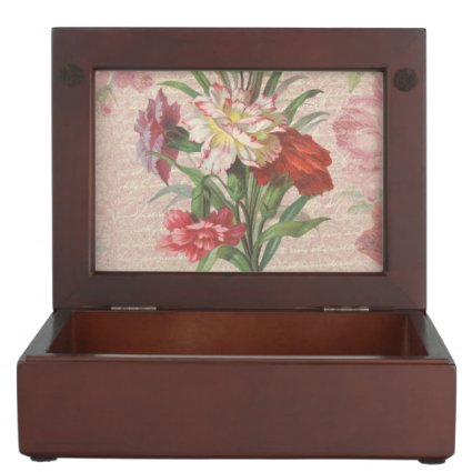 Vintage style bouquet on aged floral and script keepsake box