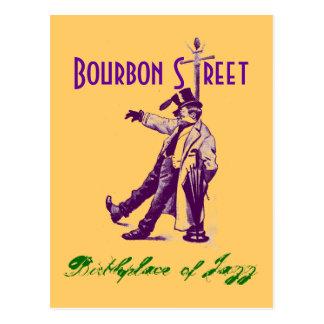 Vintage Style Bourbon Street NOLA Jazz Postcard