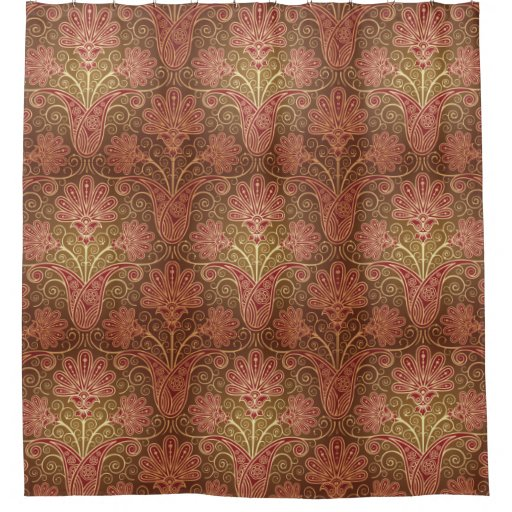Vintage Style Brown and Maroon Floral Pattern Shower