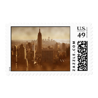 Vintage Style Brown Color New York City Postage