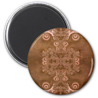Vintage Style Brown Metal Fractal Pattern Magnet