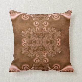 Vintage Style Brown Metal Fractal Pattern Pillows