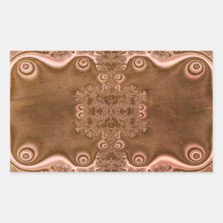 Vintage Style Brown Metal Fractal Pattern Rectangular Sticker