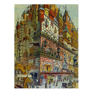Vintage Style Busy city Old town center POSTCARD