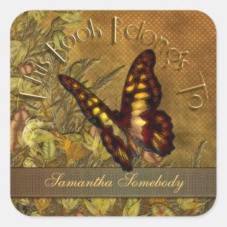 Vintage Style Butterfly Bookplate Sticker