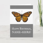 [ Thumbnail: Vintage Style, Butterfly, Happy Birthday Card ]
