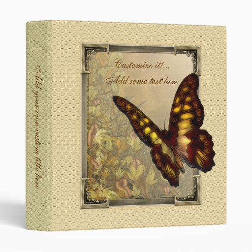 "Vintage Style Butterfly Illustration 1"" Binder"