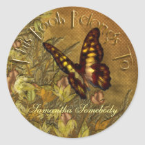 Vintage Style Butterfly Illustration Bookplate