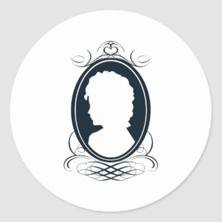 Vintage style cameo silhouette design classic round sticker